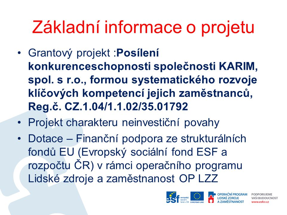 Základní informace o projetu