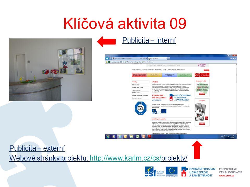 Klíčová aktivita 09 Publicita – interní Publicita – externí