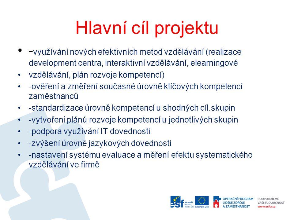 Hlavní cíl projektu -využívání nových efektivních metod vzdělávání (realizace development centra, interaktivní vzdělávání, elearningové.