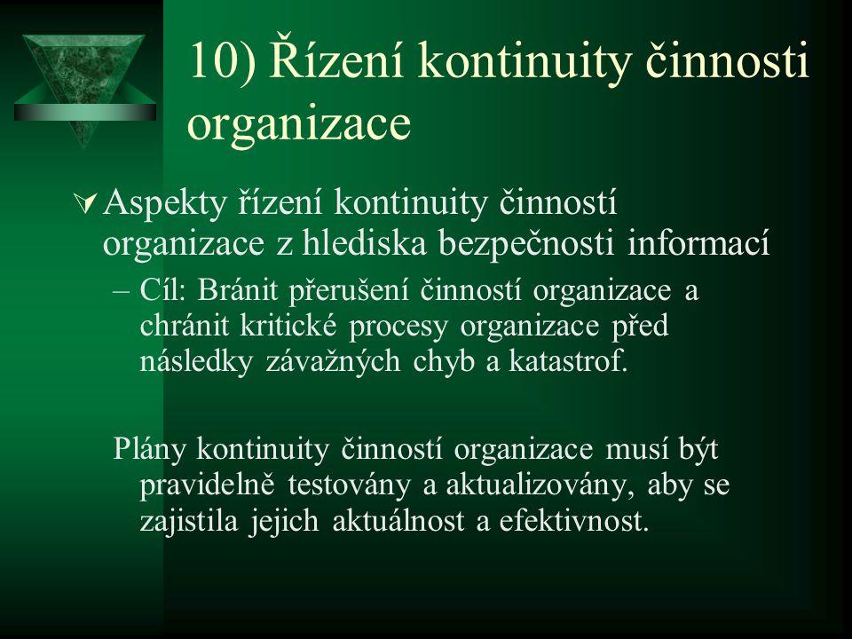 10) Řízení kontinuity činnosti organizace