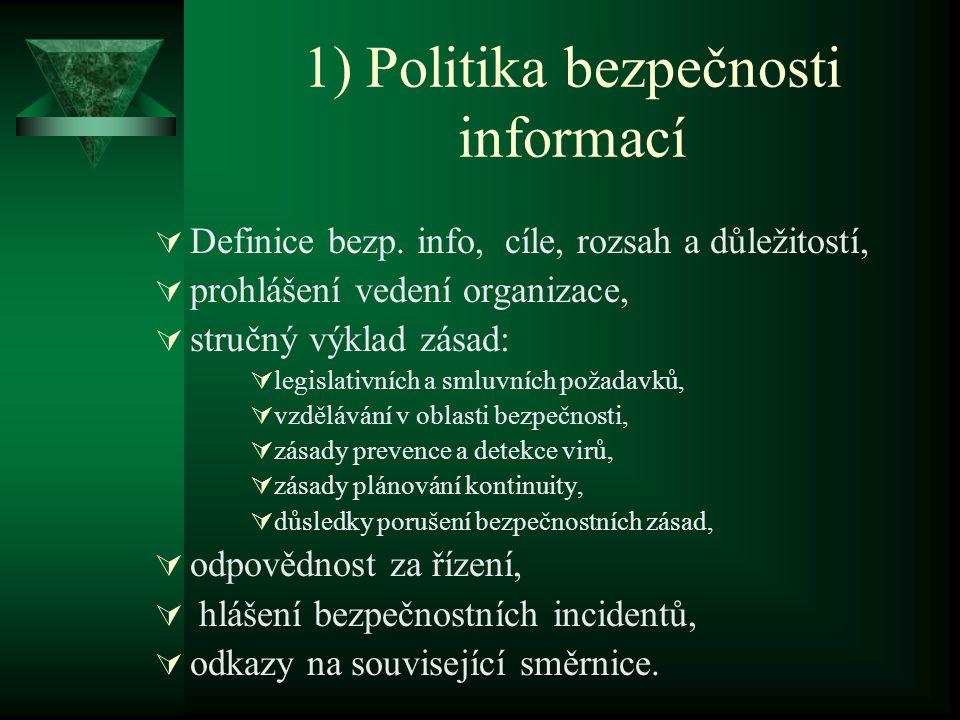 1) Politika bezpečnosti informací