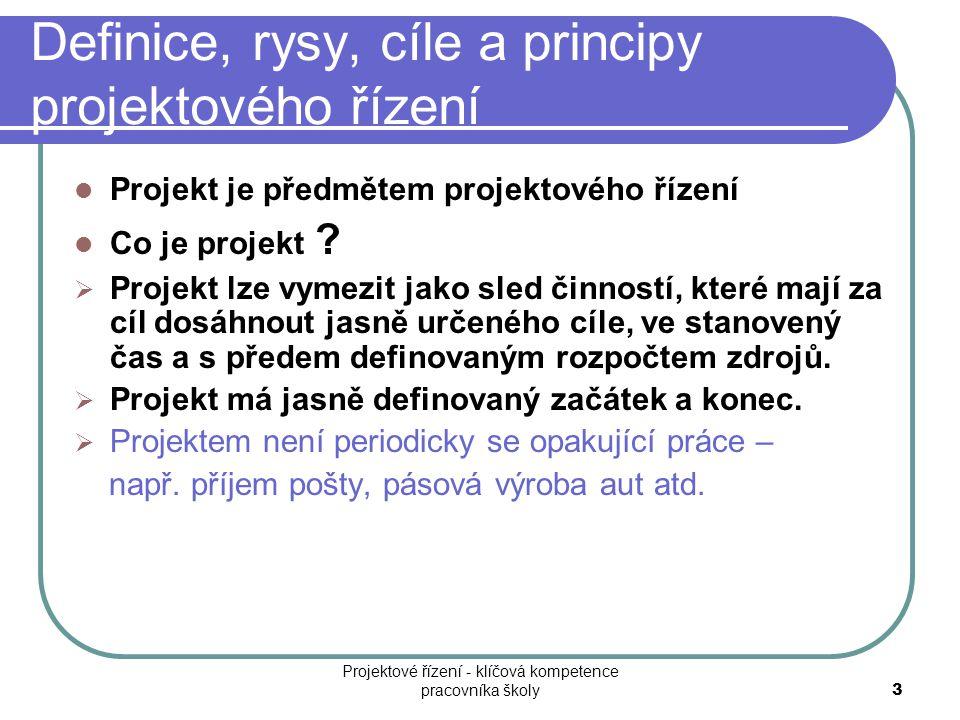 Definice, rysy, cíle a principy projektového řízení