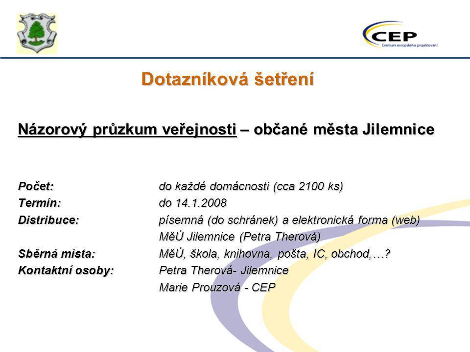 Dotazníková šetření Názorový průzkum veřejnosti – občané města Jilemnice. Počet: do každé domácnosti (cca 2100 ks)
