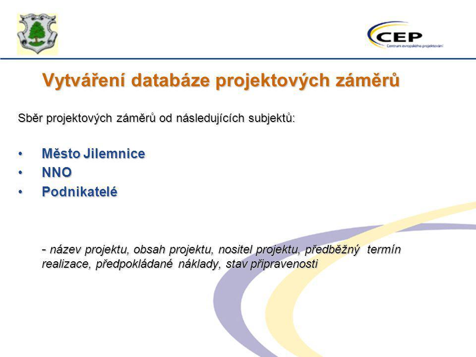 Vytváření databáze projektových záměrů