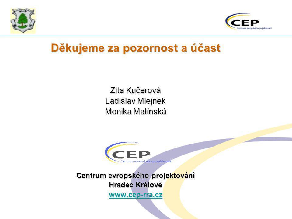 Děkujeme za pozornost a účast Centrum evropského projektování