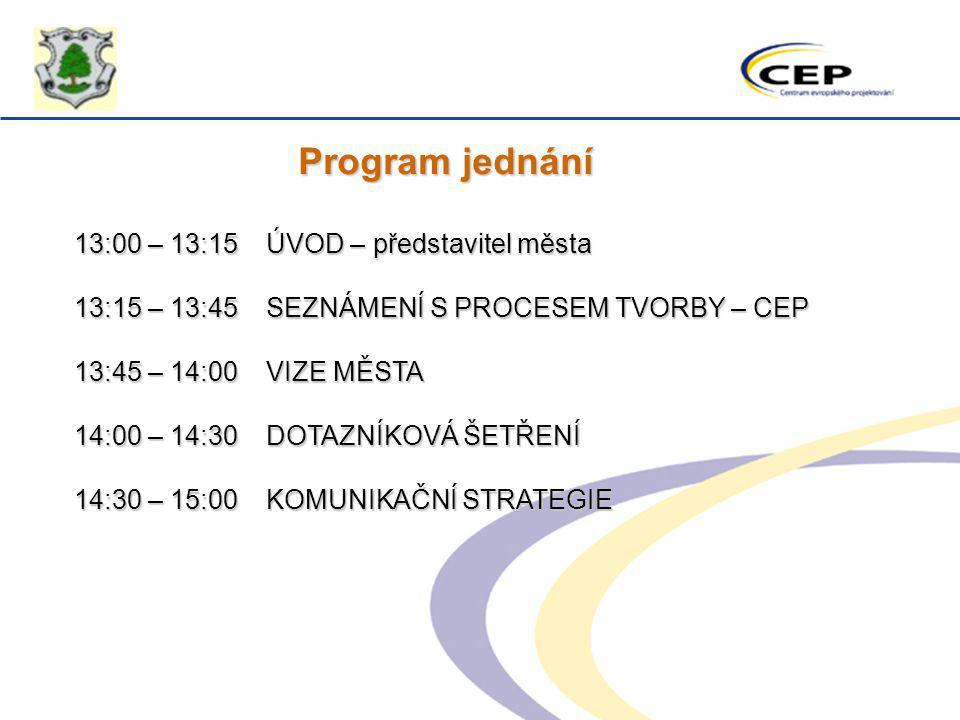Program jednání 13:00 – 13:15 ÚVOD – představitel města