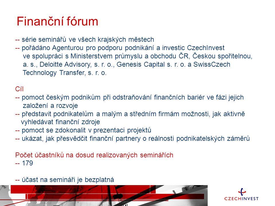 Finanční fórum -- série seminářů ve všech krajských městech