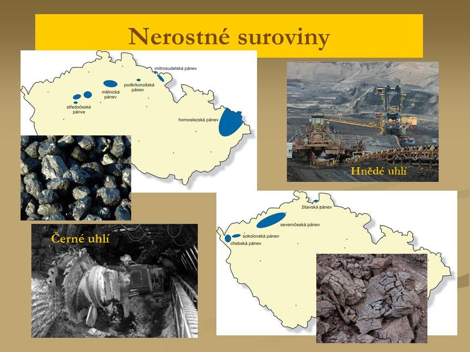 Nerostné suroviny Hnědé uhlí Černé uhlí