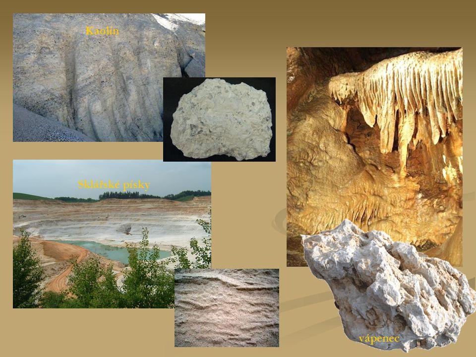Kaolín Sklářské písky vápenec