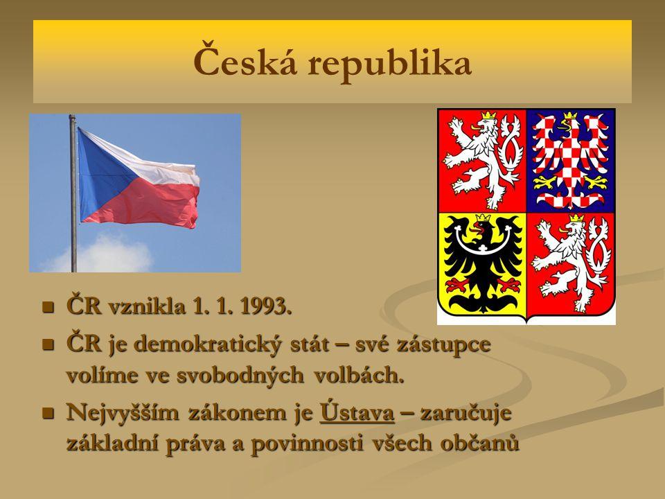 Česká republika ČR vznikla 1. 1. 1993.