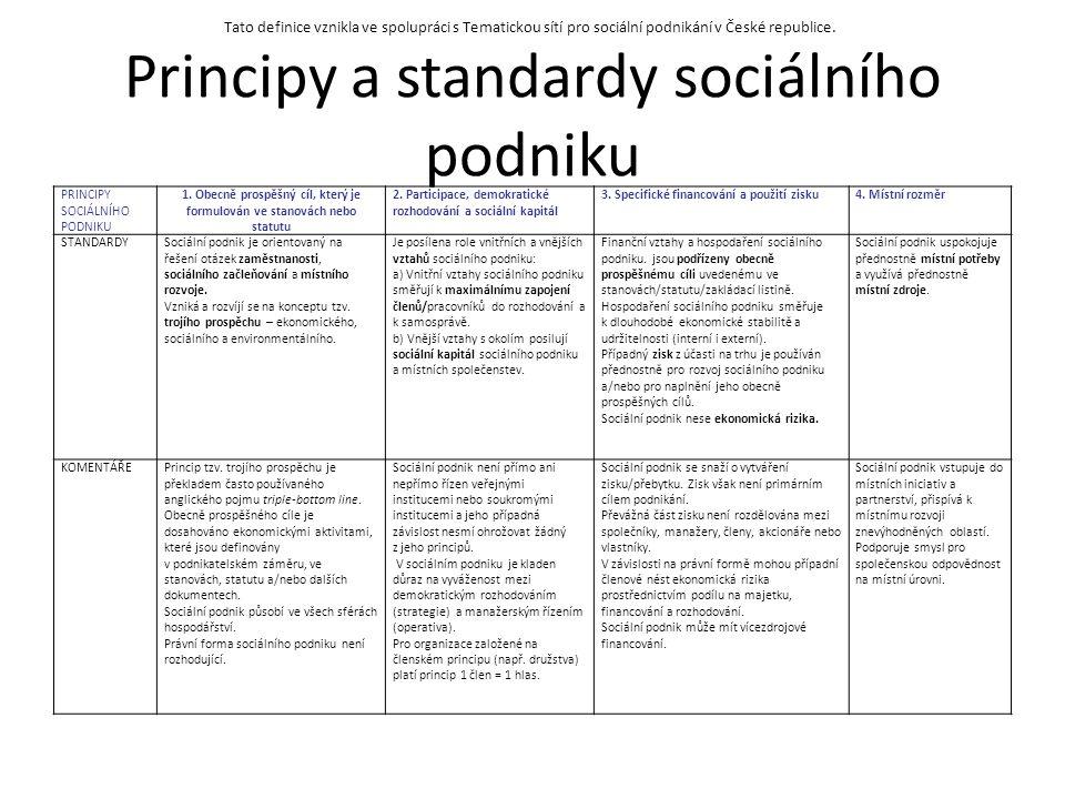 Principy a standardy sociálního podniku