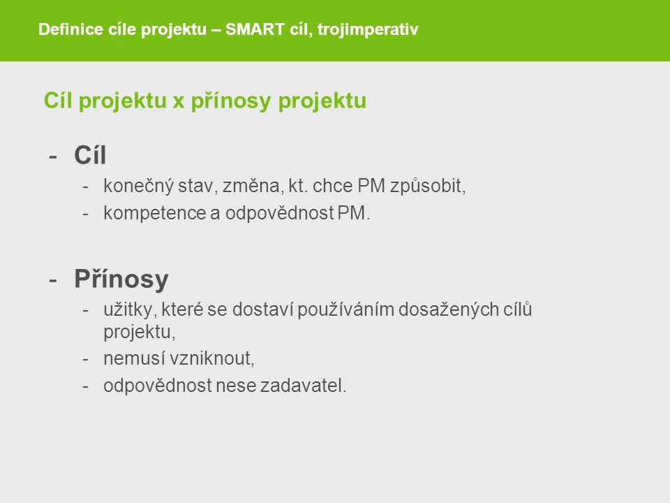 Cíl projektu x přínosy projektu