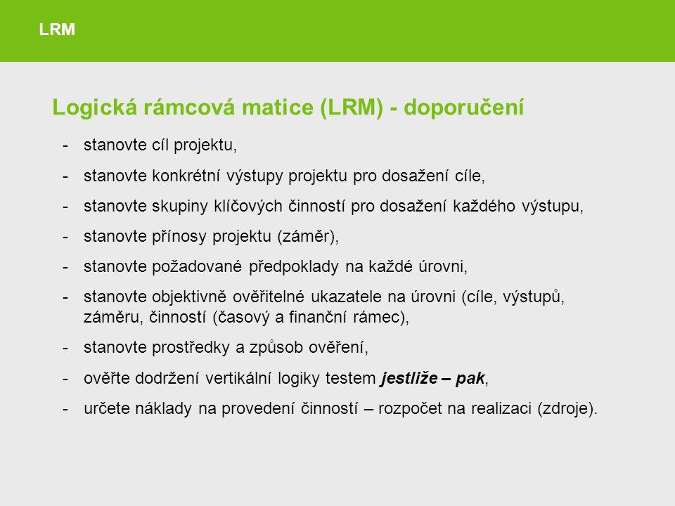 Logická rámcová matice (LRM) - doporučení