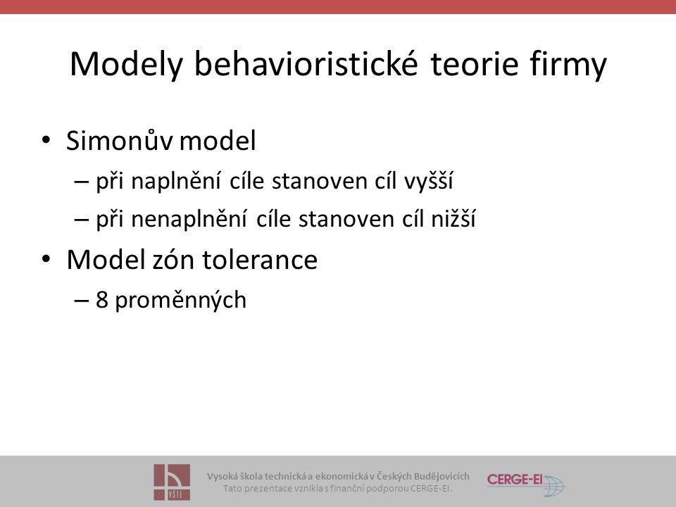 Modely behavioristické teorie firmy