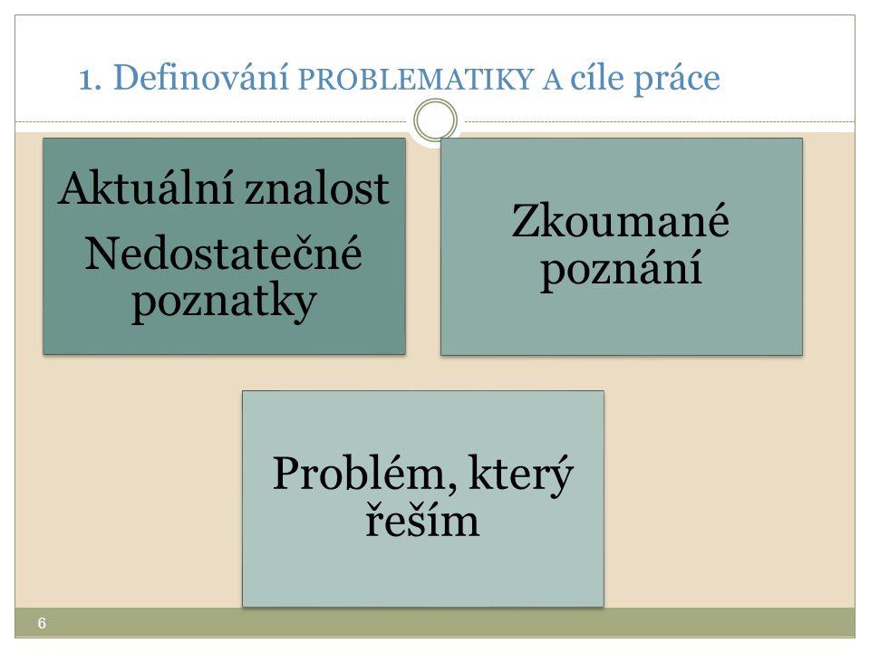 1. Definování PROBLEMATIKY A cíle práce
