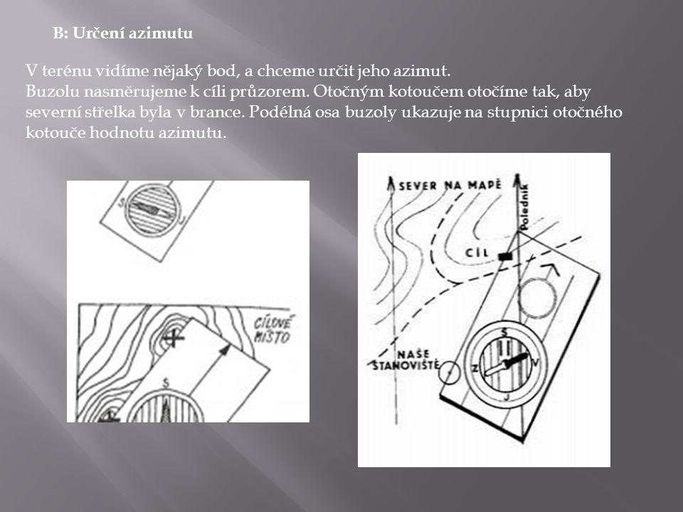 B: Určení azimutu V terénu vidíme nějaký bod, a chceme určit jeho azimut.