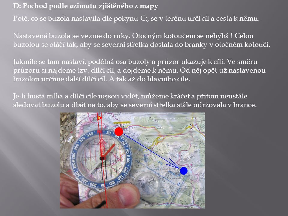 D: Pochod podle azimutu zjištěného z mapy