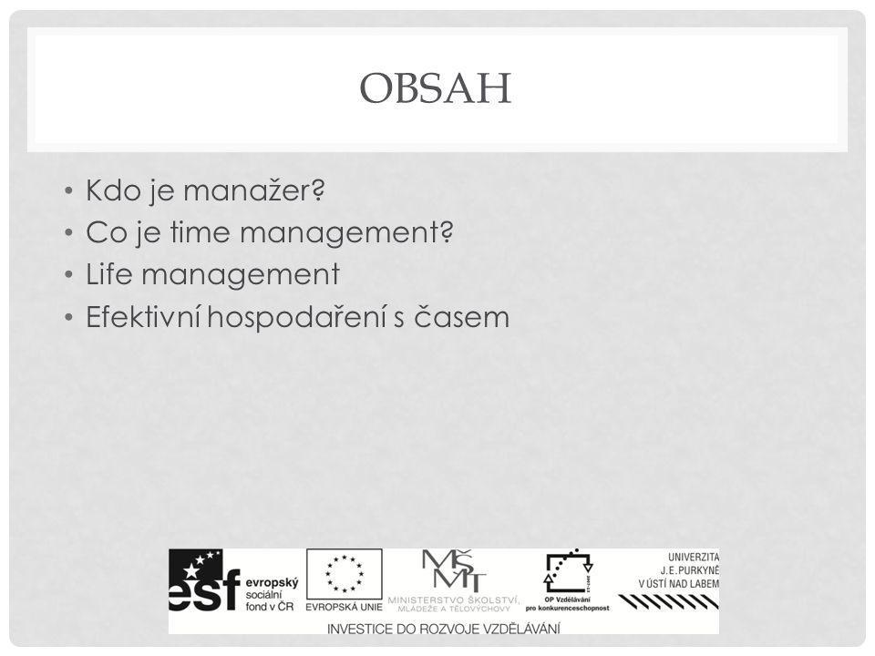 Obsah Kdo je manažer Co je time management Life management