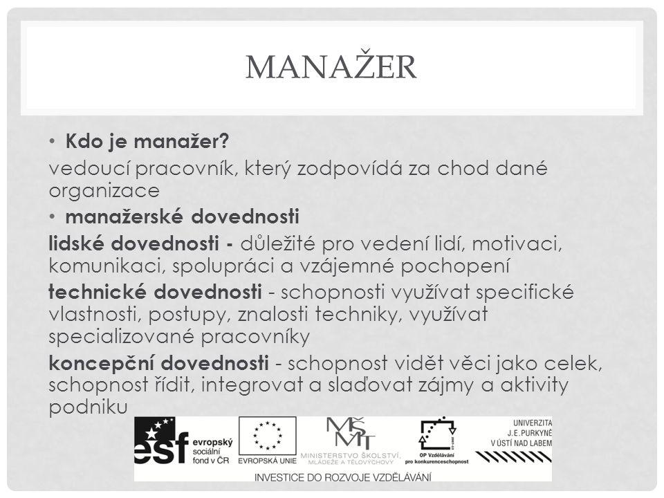 manažer Kdo je manažer vedoucí pracovník, který zodpovídá za chod dané organizace. manažerské dovednosti.