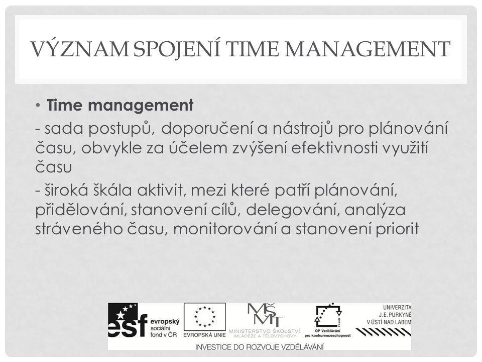 Význam spojení time management