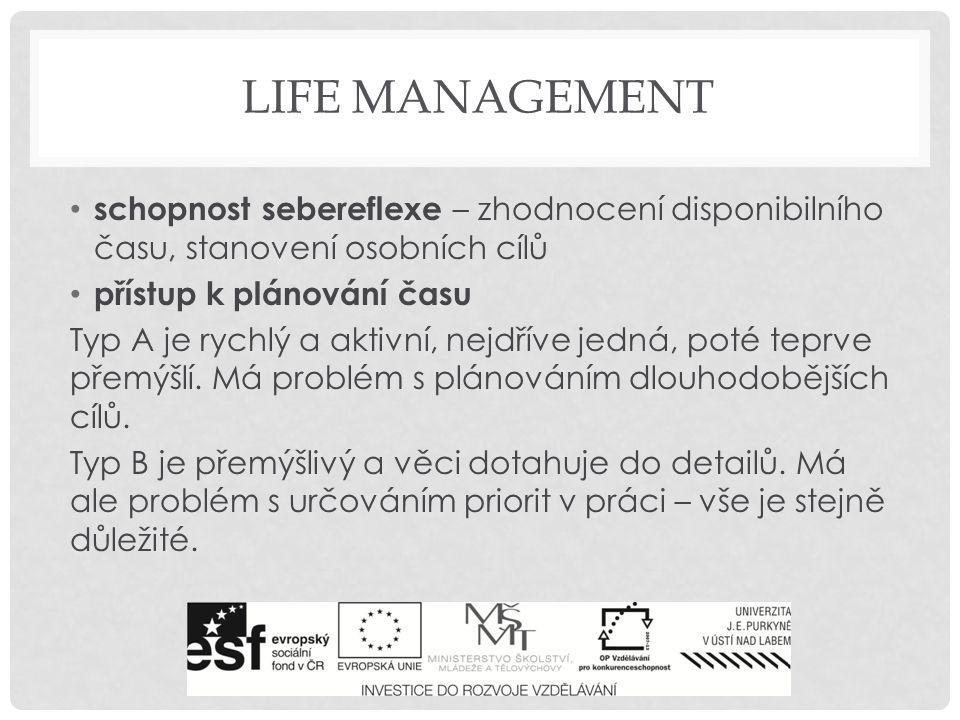 Life management schopnost sebereflexe – zhodnocení disponibilního času, stanovení osobních cílů. přístup k plánování času.