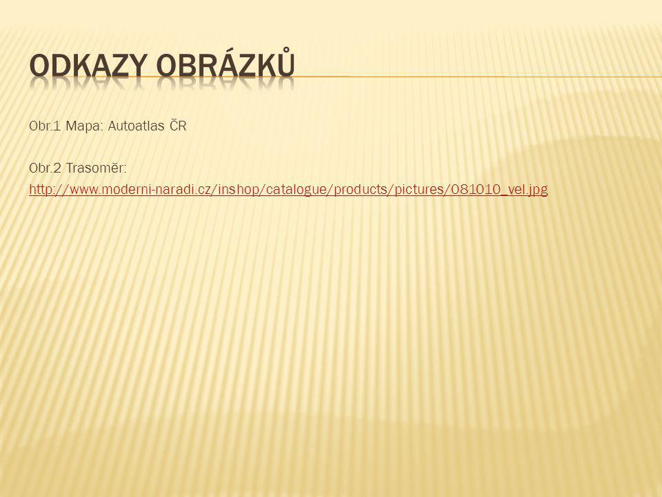 Odkazy obrázků Obr.1 Mapa: Autoatlas ČR Obr.2 Trasoměr: