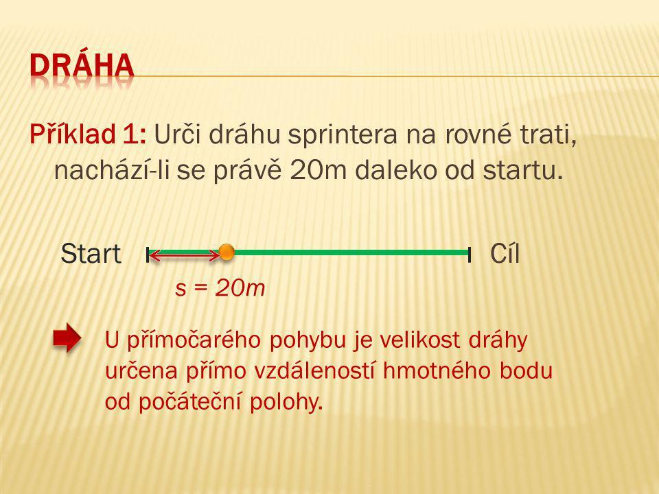 Dráha Příklad 1: Urči dráhu sprintera na rovné trati, nachází-li se právě 20m daleko od startu. Start Cíl.