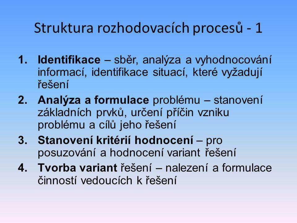 Struktura rozhodovacích procesů - 1