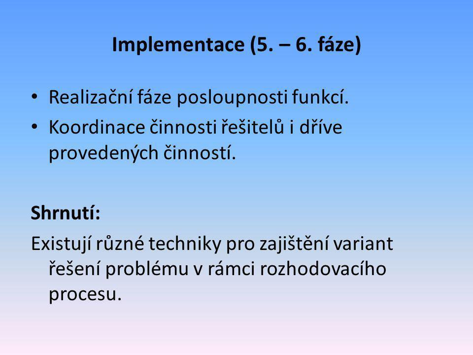 Implementace (5. – 6. fáze) Realizační fáze posloupnosti funkcí.