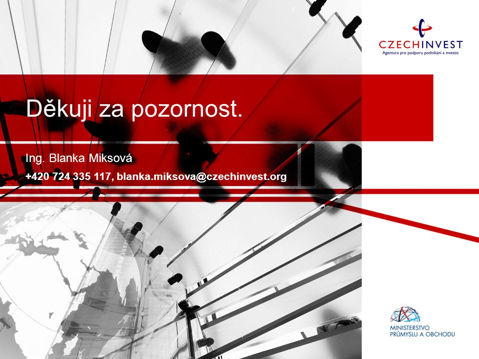 Ing. Blanka Miksová +420 724 335 117, blanka.miksova@czechinvest.org