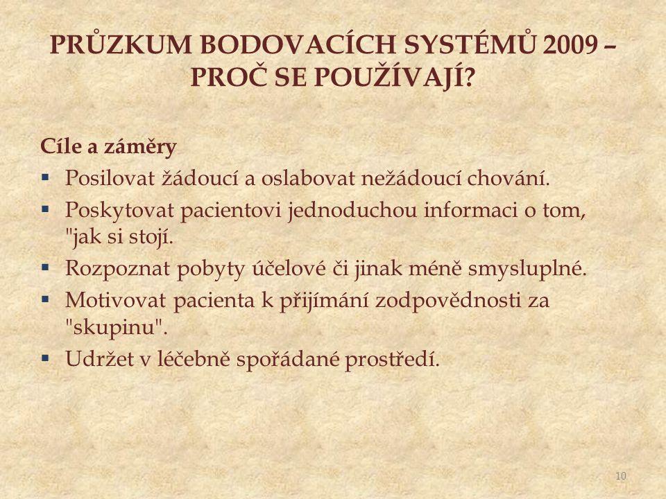PRŮZKUM BODOVACÍCH SYSTÉMŮ 2009 – PROČ SE POUŽÍVAJÍ