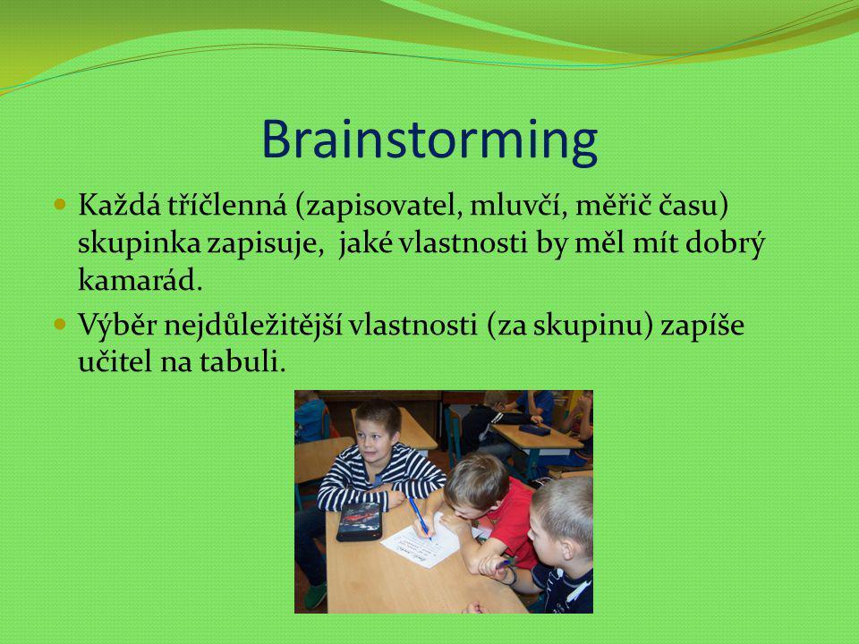 Brainstorming Každá tříčlenná (zapisovatel, mluvčí, měřič času) skupinka zapisuje, jaké vlastnosti by měl mít dobrý kamarád.