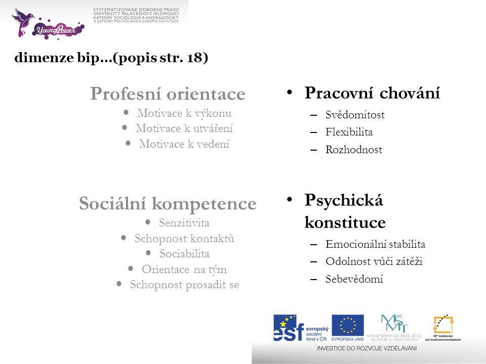 Profesní orientace Sociální kompetence