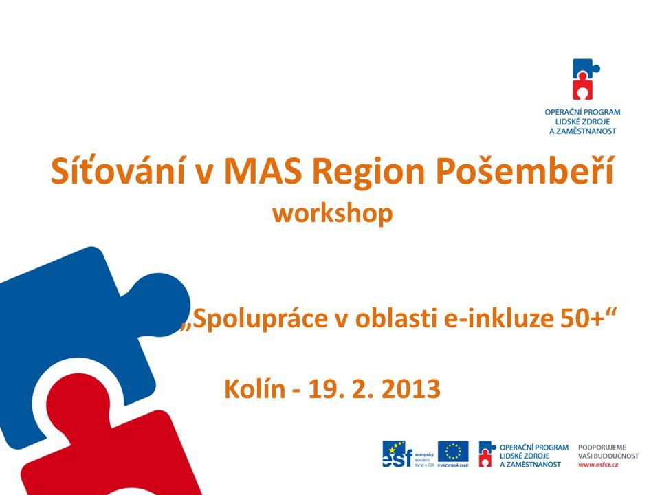 """Síťování v MAS Region Pošembeří workshop """"Spolupráce v oblasti e-inkluze 50+ Kolín - 19. 2. 2013"""