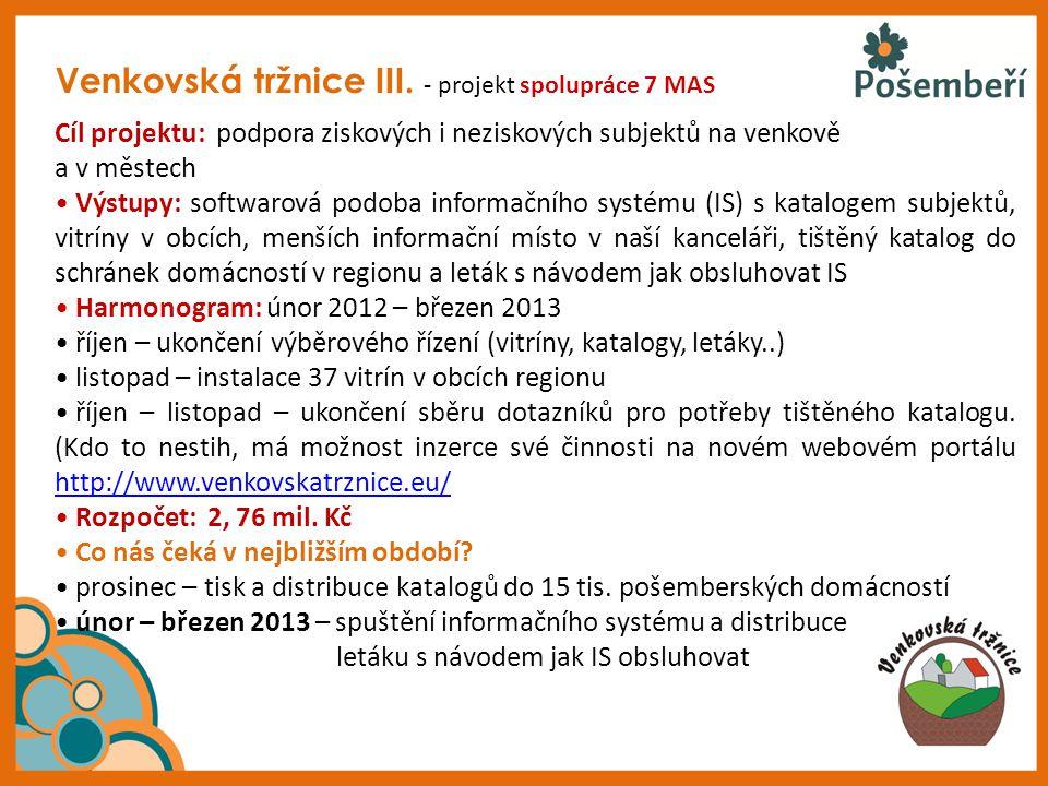 Venkovská tržnice III. - projekt spolupráce 7 MAS