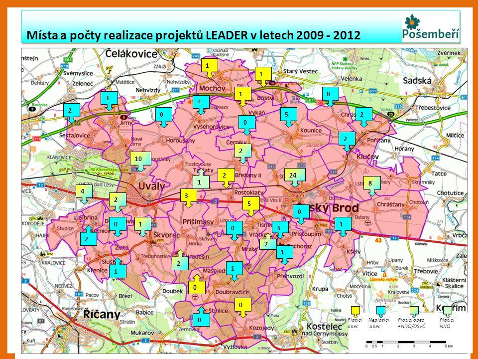 Místa a počty realizace projektů LEADER v letech 2009 - 2012