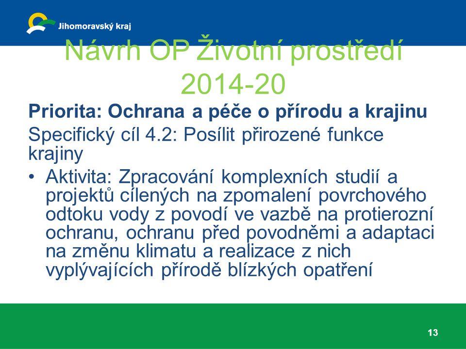 Návrh OP Životní prostředí 2014-20