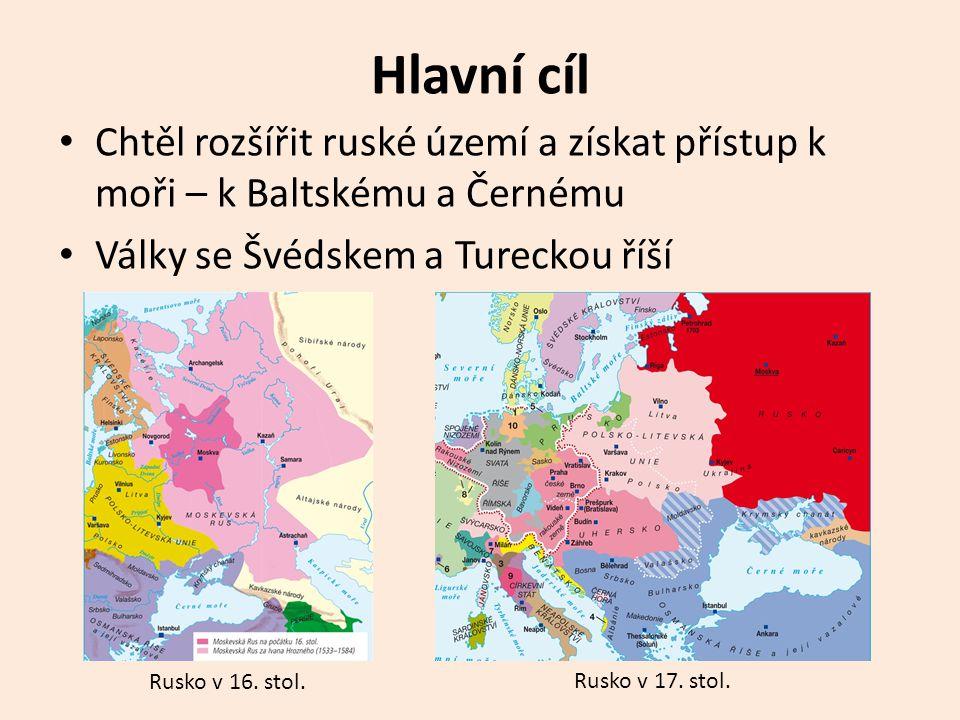 Hlavní cíl Chtěl rozšířit ruské území a získat přístup k moři – k Baltskému a Černému. Války se Švédskem a Tureckou říší.