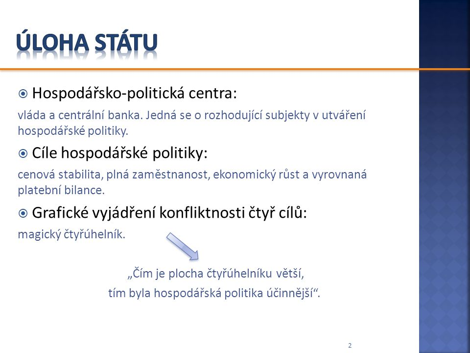 Úloha státu Hospodářsko-politická centra: Cíle hospodářské politiky: