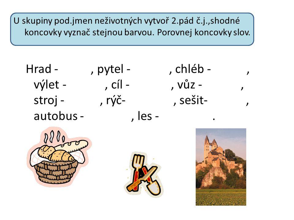 U skupiny pod. jmen neživotných vytvoř 2. pád č. j