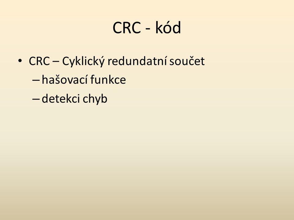 CRC - kód CRC – Cyklický redundatní součet hašovací funkce