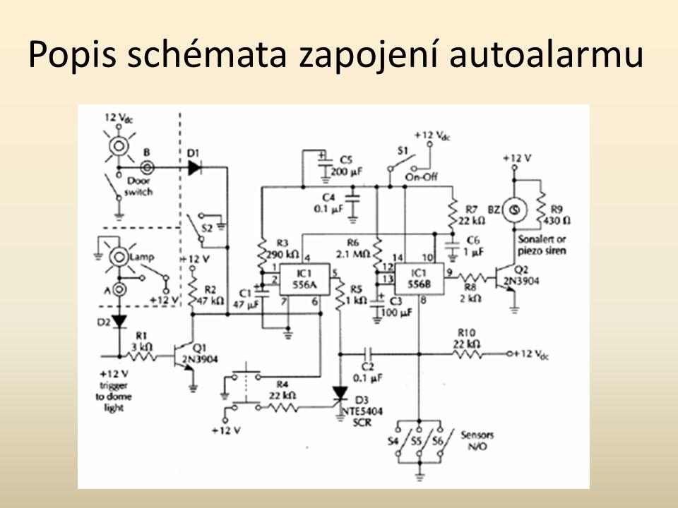 Popis schémata zapojení autoalarmu
