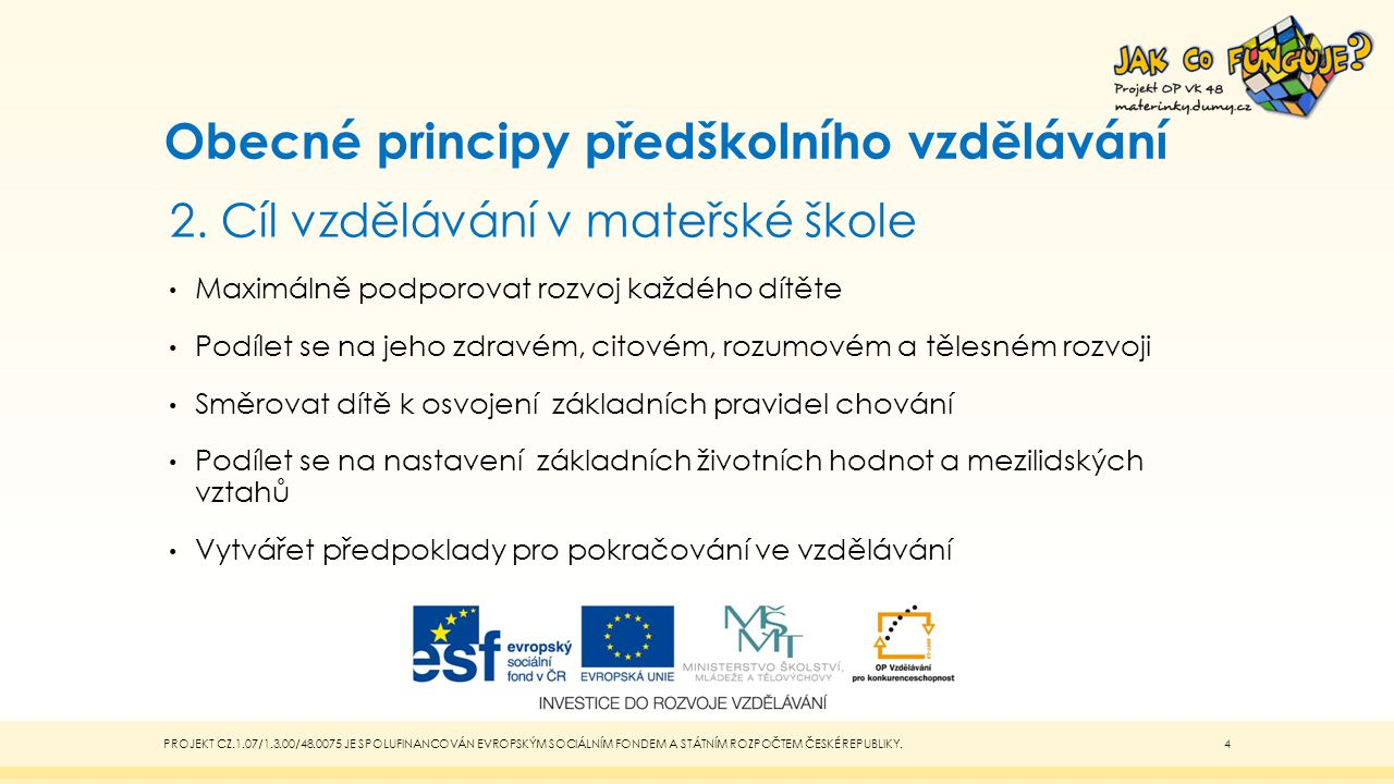 Obecné principy předškolního vzdělávání