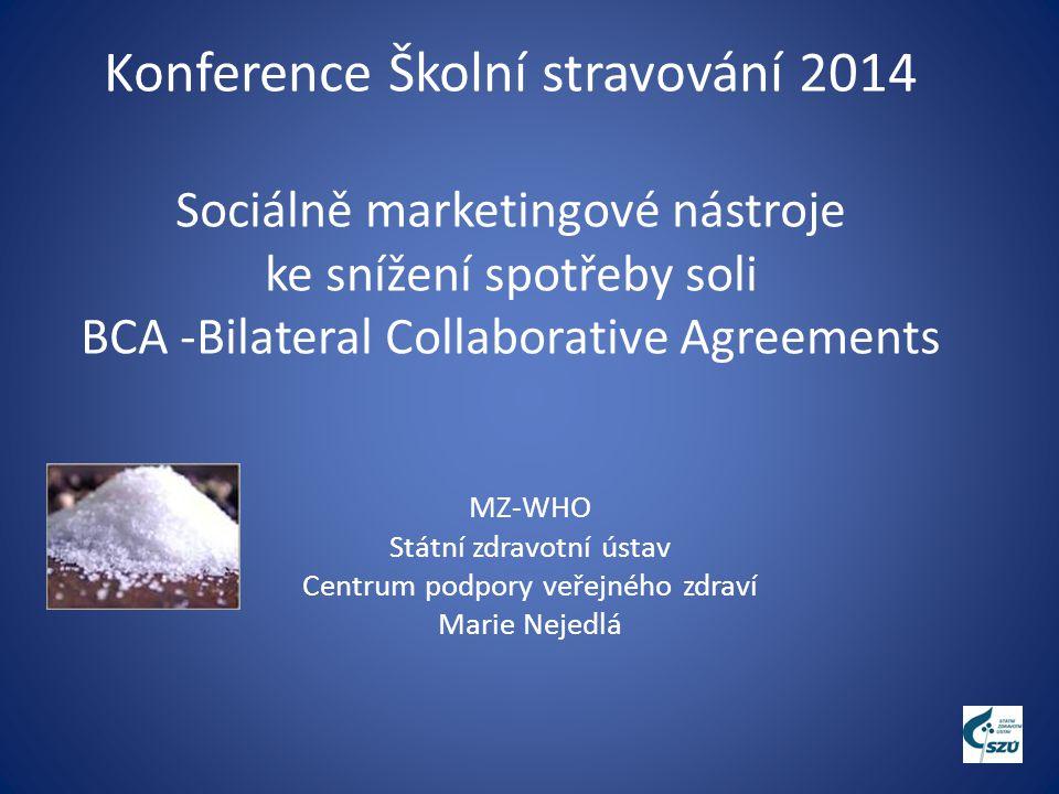 Konference Školní stravování 2014 Sociálně marketingové nástroje ke snížení spotřeby soli BCA -Bilateral Collaborative Agreements