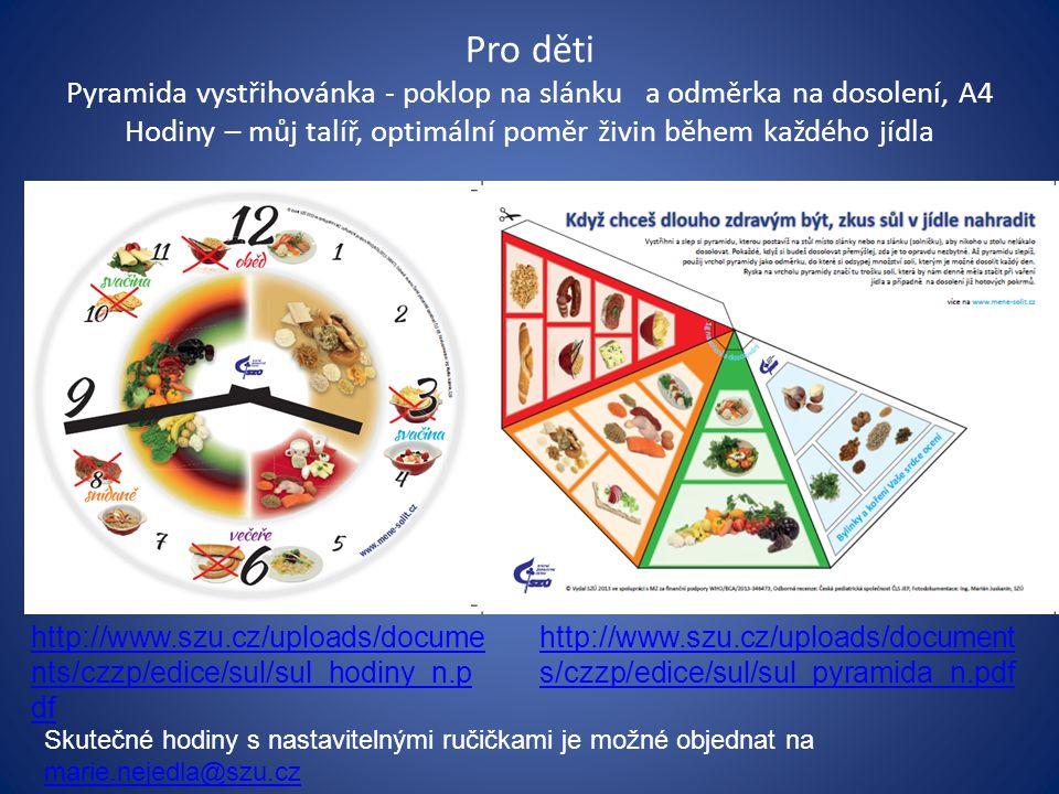 Pro děti Pyramida vystřihovánka - poklop na slánku a odměrka na dosolení, A4 Hodiny – můj talíř, optimální poměr živin během každého jídla