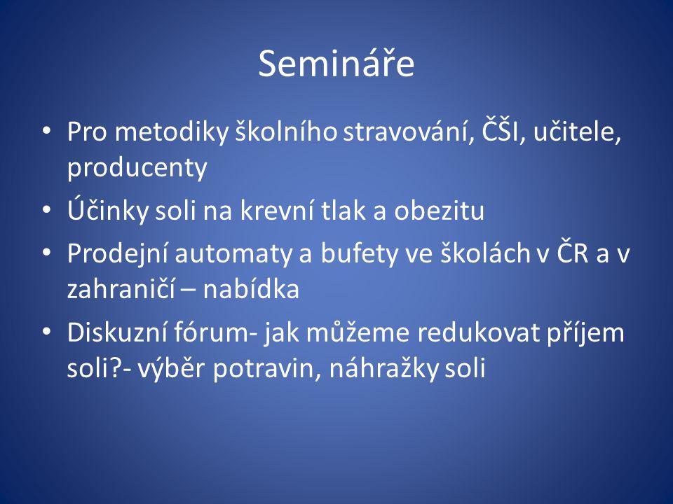 Semináře Pro metodiky školního stravování, ČŠI, učitele, producenty