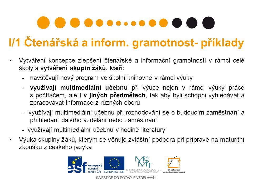 I/1 Čtenářská a inform. gramotnost- příklady