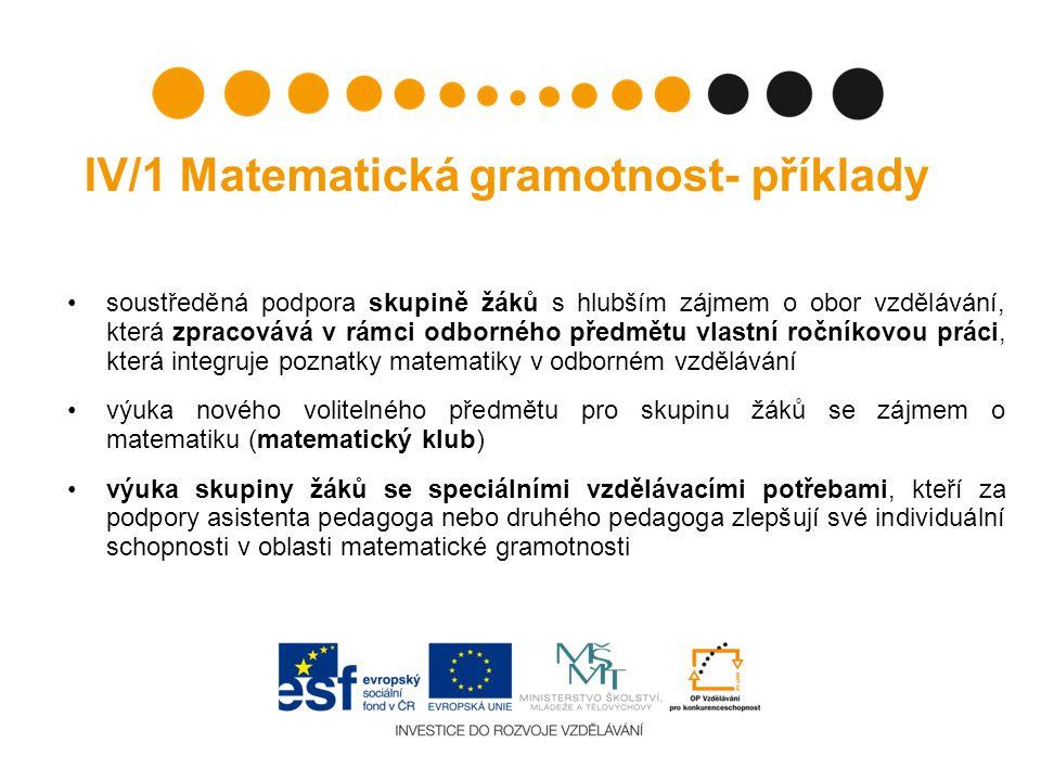 IV/1 Matematická gramotnost- příklady