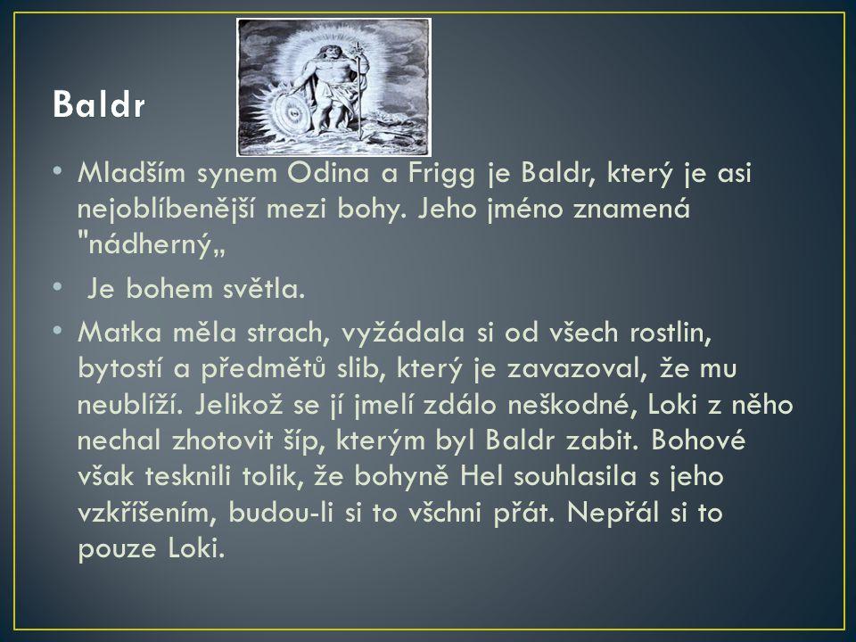 """Baldr Mladším synem Odina a Frigg je Baldr, který je asi nejoblíbenější mezi bohy. Jeho jméno znamená nádherný"""""""