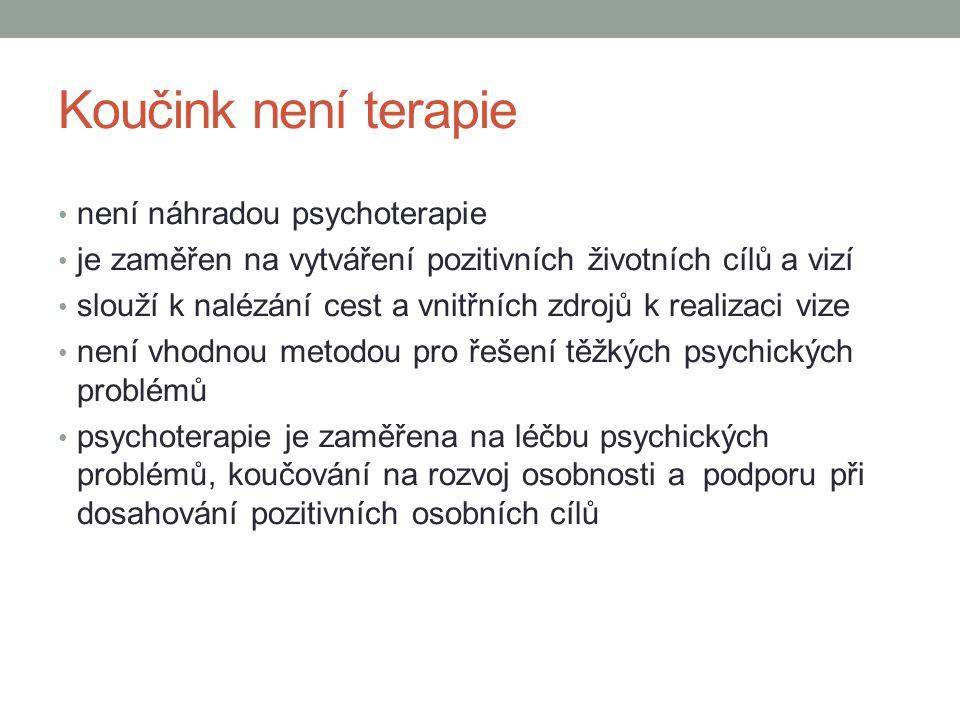 Koučink není terapie není náhradou psychoterapie